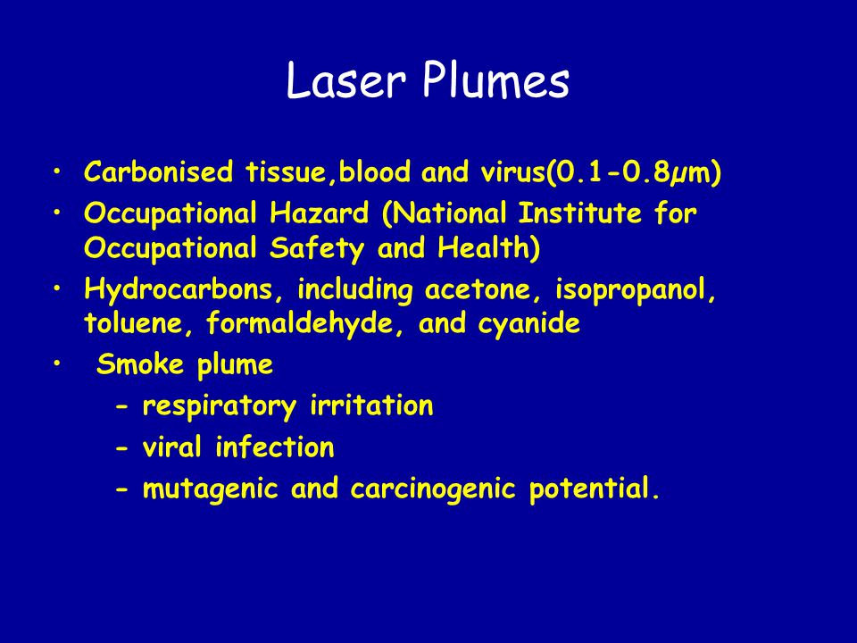 Laser Plumes Carbonised tissue,blood and virus(0.1-0.8µm)