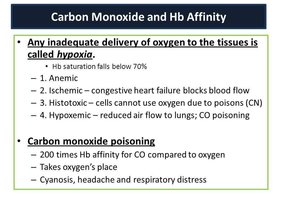 Carbon Monoxide and Hb Affinity