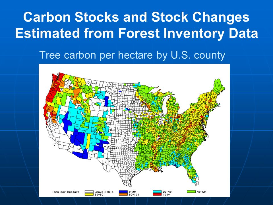 Tree carbon per hectare by U.S. county