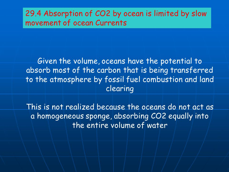 29.4 Absorption of CO2 by ocean is limited by slow