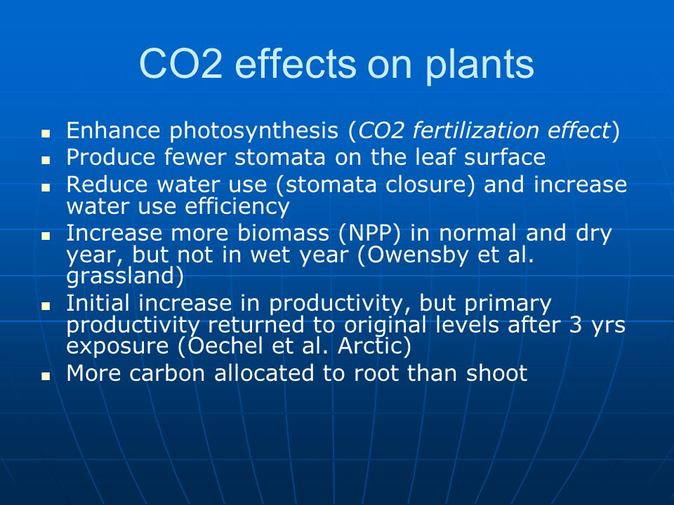 CO2 effects on plants Enhance photosynthesis (CO2 fertilization effect) Produce fewer stomata on the leaf surface.