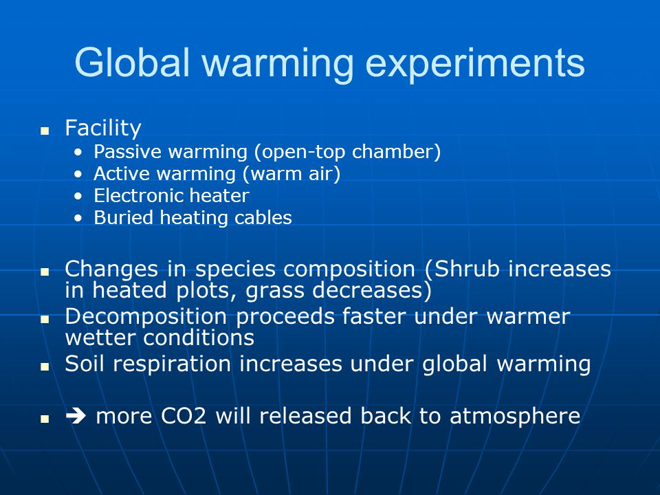 Global warming experiments