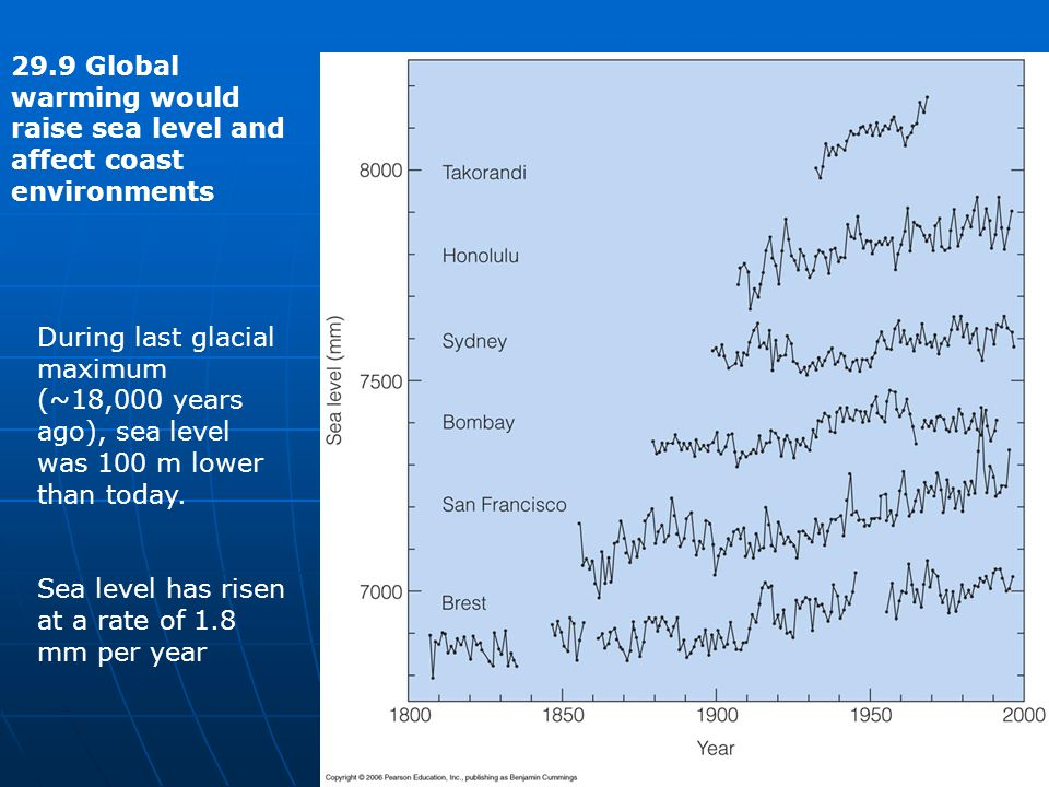 Sea level has risen at a rate of 1.8 mm per year