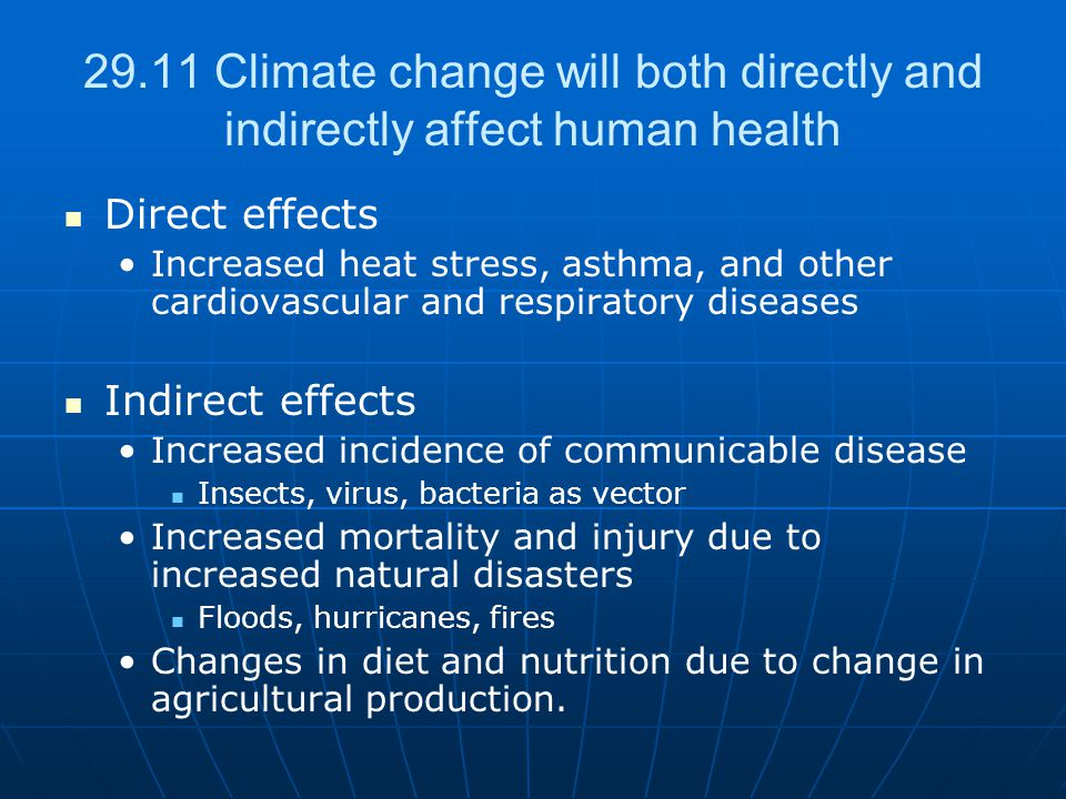29.11 Climate change will both directly and indirectly affect human health