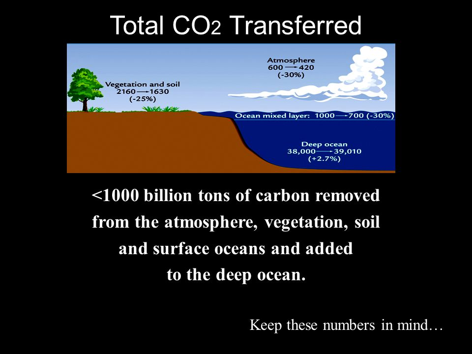 Total CO2 Transferred <1000 billion tons of carbon removed