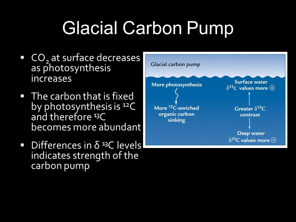 Glacial Carbon Pump CO2 at surface decreases as photosynthesis increases.