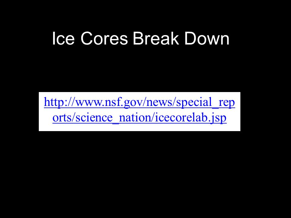 Ice Cores Break Down http://www.nsf.gov/news/special_reports/science_nation/icecorelab.jsp