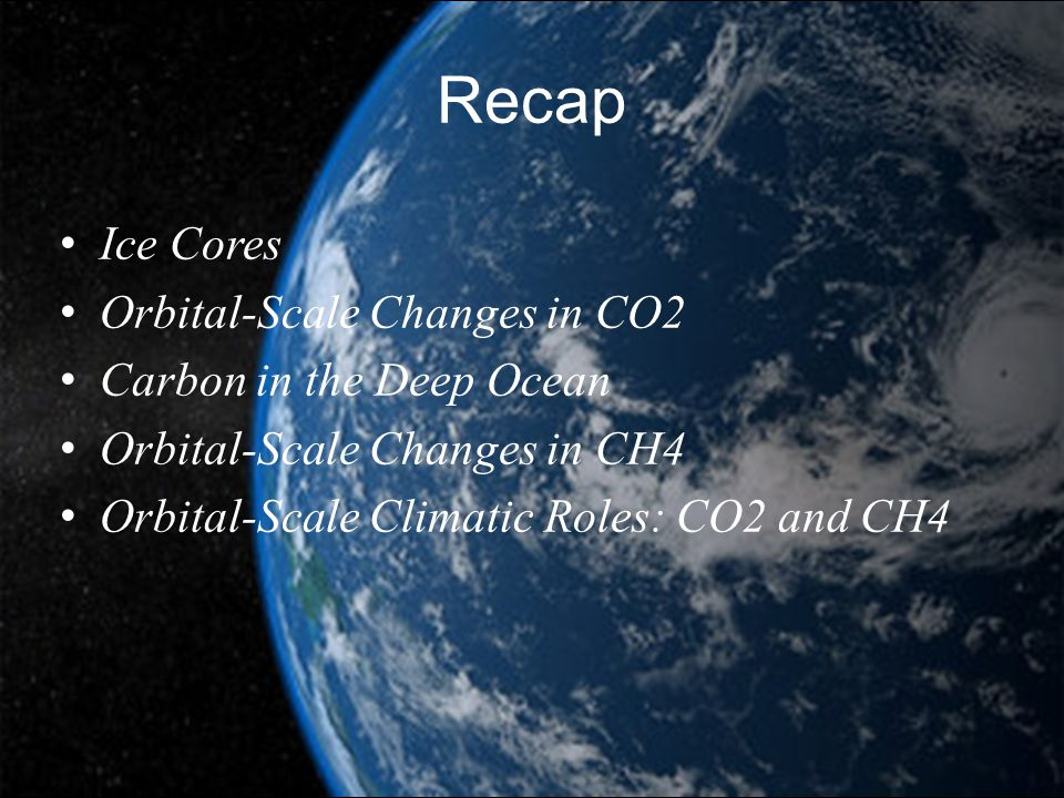 Recap Ice Cores Orbital-Scale Changes in CO2 Carbon in the Deep Ocean