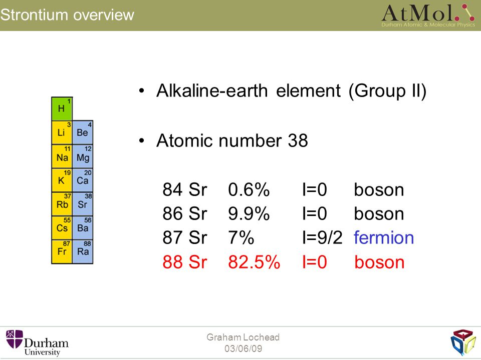 Alkaline-earth element (Group II) Atomic number 38