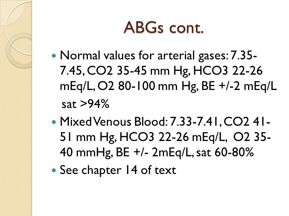 ABGs cont. Normal values for arterial gases: 7.35- 7.45, CO2 35-45 mm Hg, HCO3 22-26 mEq/L, O2 80-100 mm Hg, BE +/-2 mEq/L.