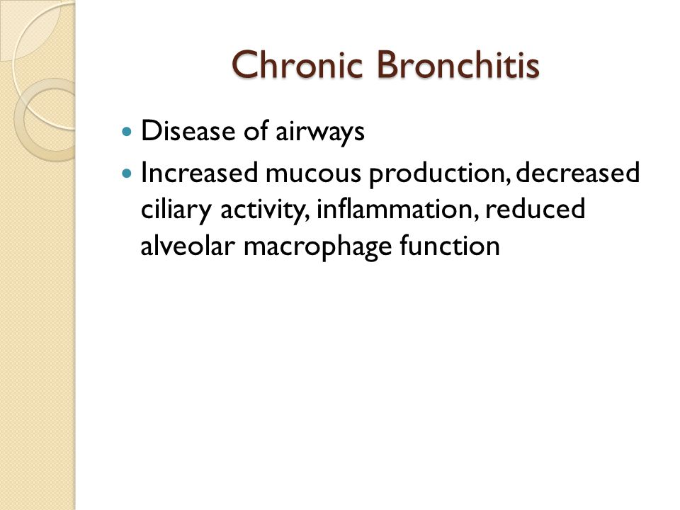 Chronic Bronchitis Disease of airways