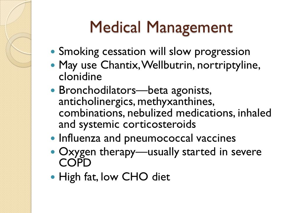 Medical Management Smoking cessation will slow progression