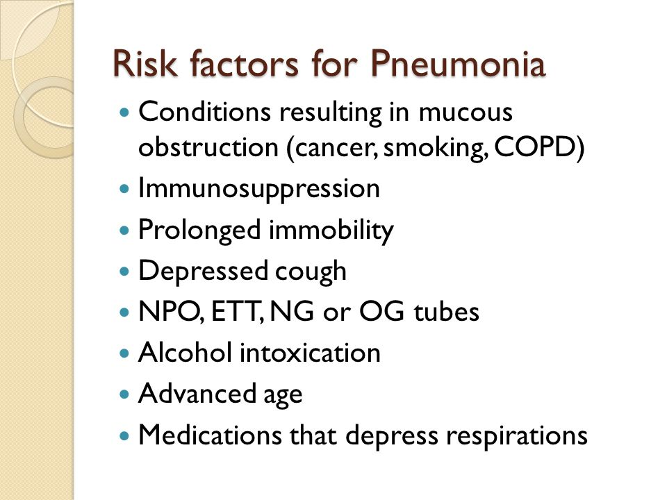 Risk factors for Pneumonia