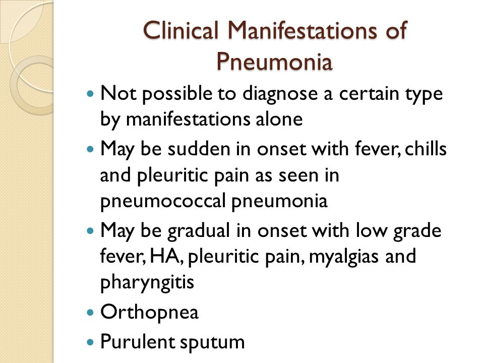 Clinical Manifestations of Pneumonia