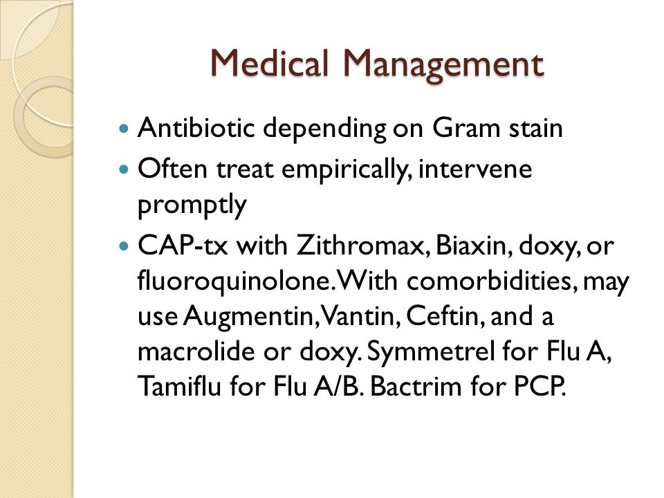 Medical Management Antibiotic depending on Gram stain