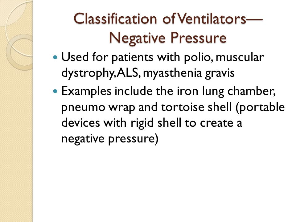 Classification of Ventilators—Negative Pressure