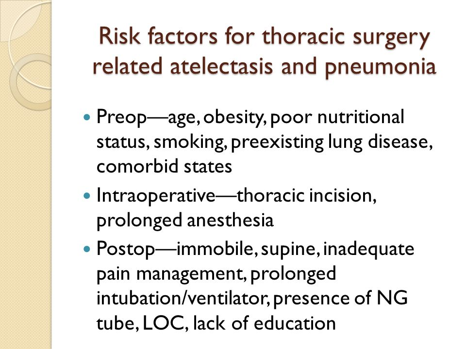 Risk factors for thoracic surgery related atelectasis and pneumonia