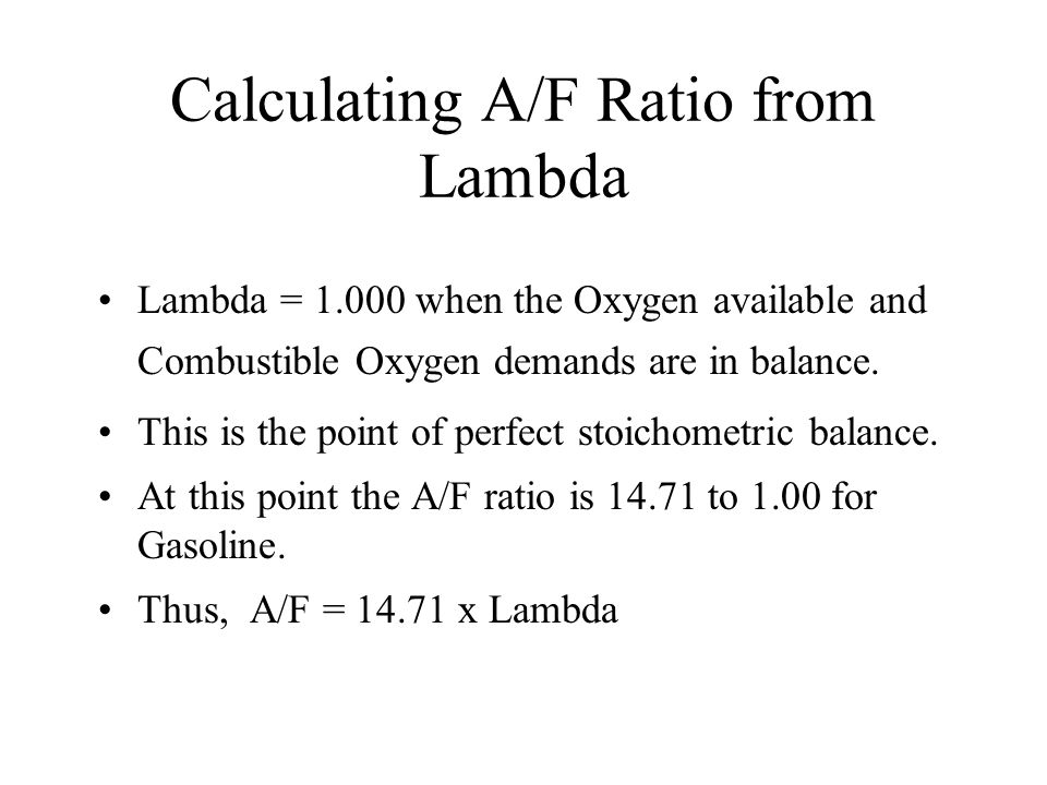 Calculating A/F Ratio from Lambda