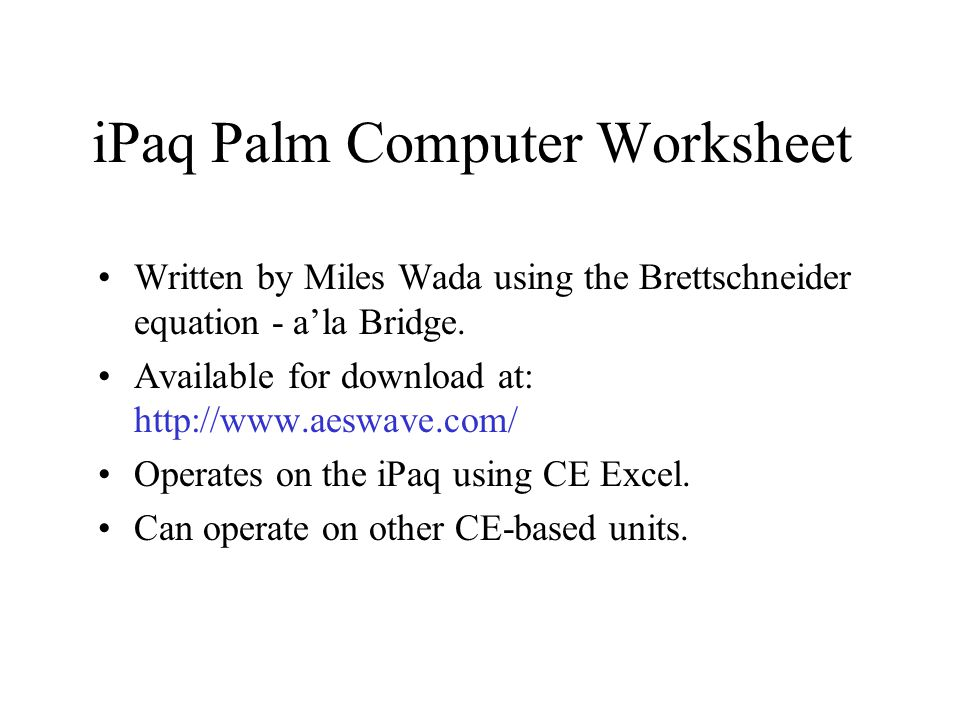 iPaq Palm Computer Worksheet
