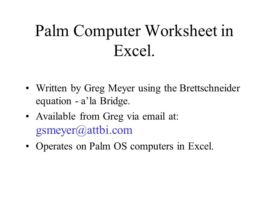 Palm Computer Worksheet in Excel.