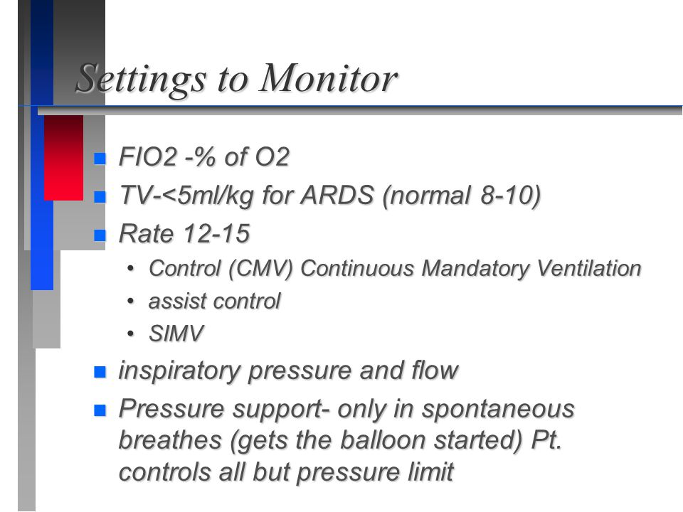 Settings to Monitor FIO2 -% of O2 TV-<5ml/kg for ARDS (normal 8-10)