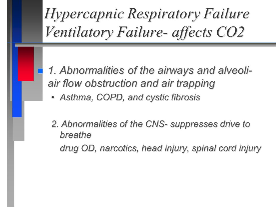 Hypercapnic Respiratory Failure Ventilatory Failure- affects CO2