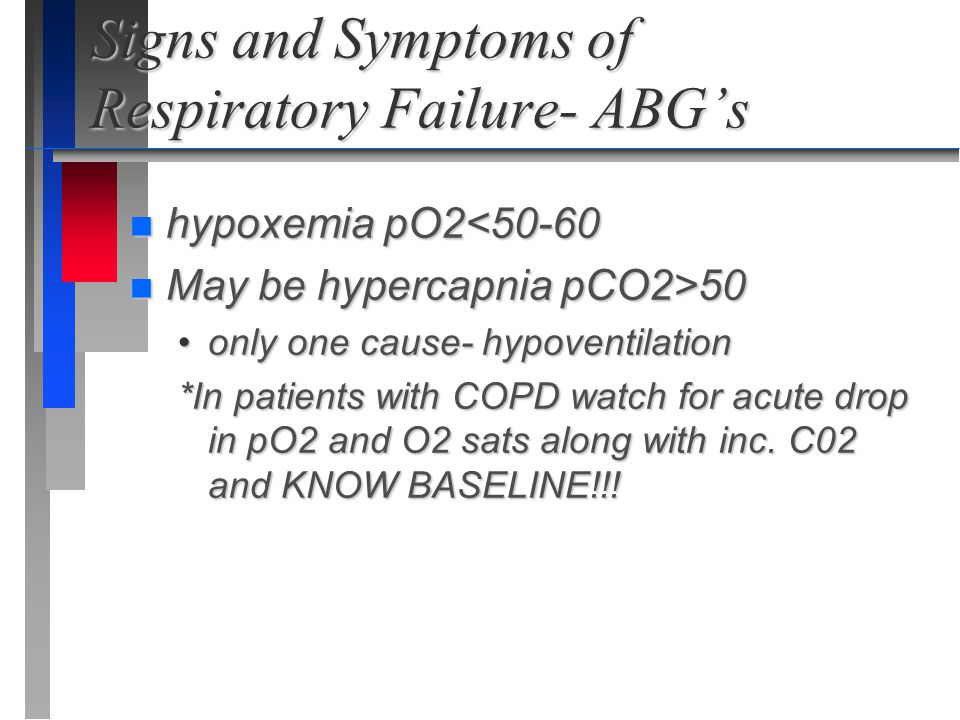 Signs and Symptoms of Respiratory Failure- ABG's