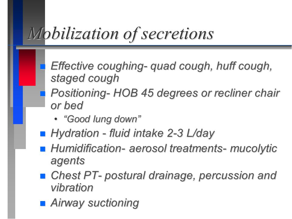 Mobilization of secretions