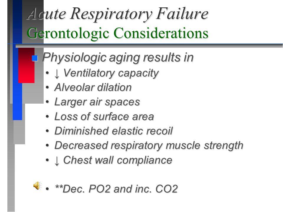 Acute Respiratory Failure Gerontologic Considerations