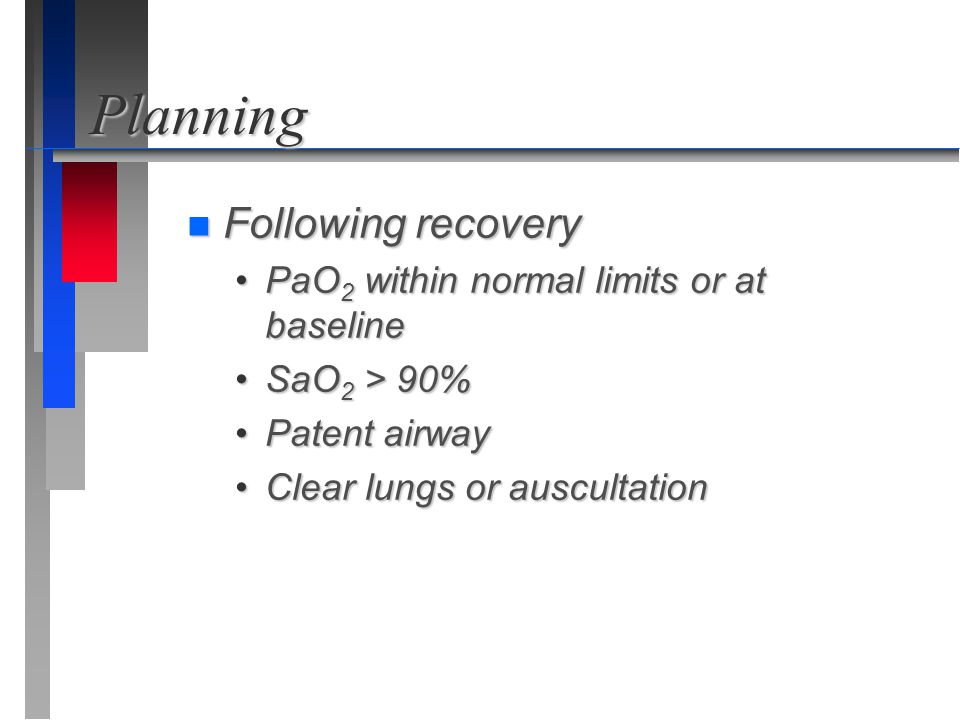 Planning Following recovery PaO2 within normal limits or at baseline
