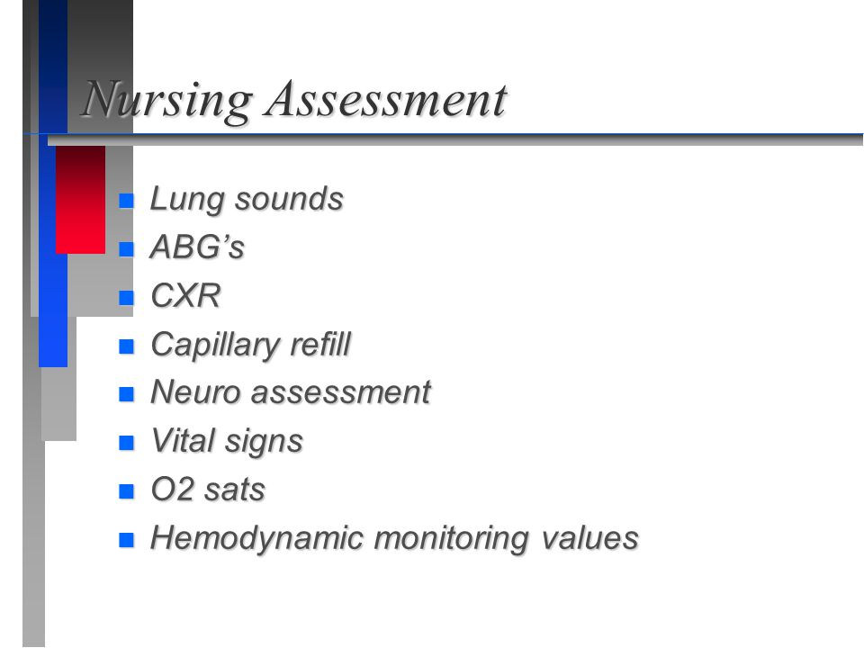 Nursing Assessment Lung sounds ABG's CXR Capillary refill