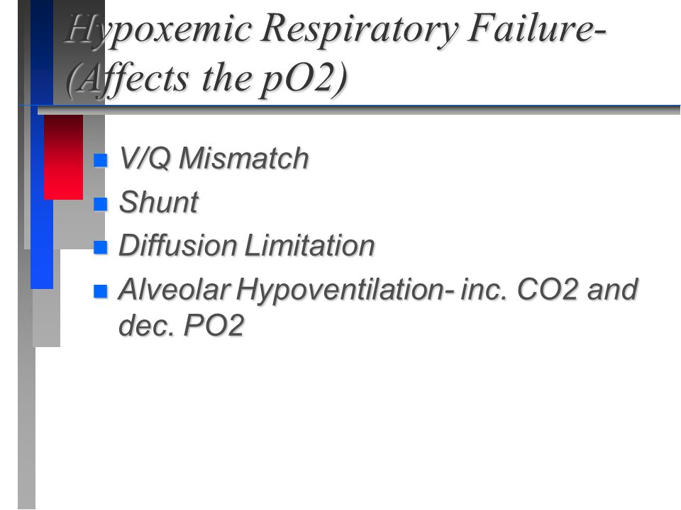 Hypoxemic Respiratory Failure- (Affects the pO2)