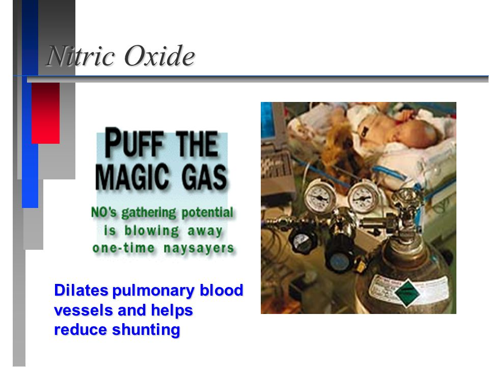 Nitric Oxide Dilates pulmonary blood vessels and helps reduce shunting