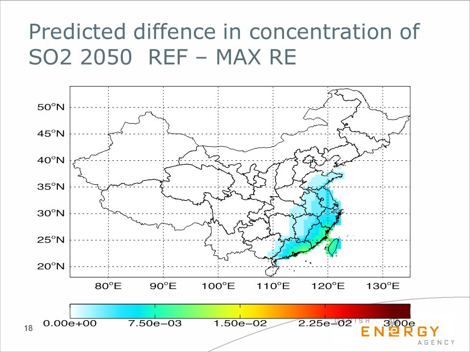 Predicted diffence in concentration of SO2 2050 REF – MAX RE