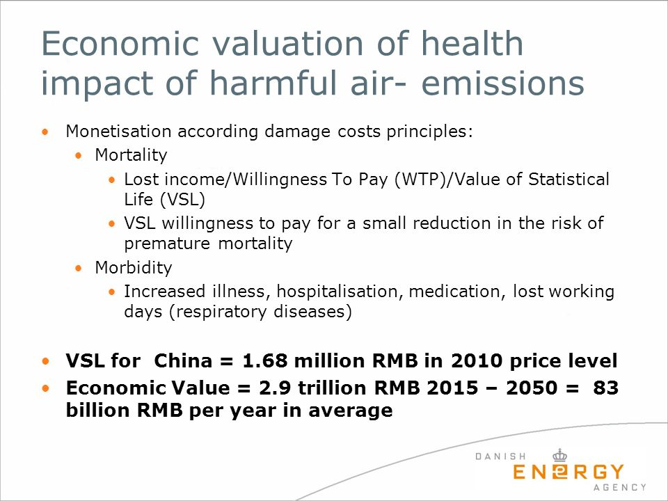 Economic valuation of health impact of harmful air- emissions