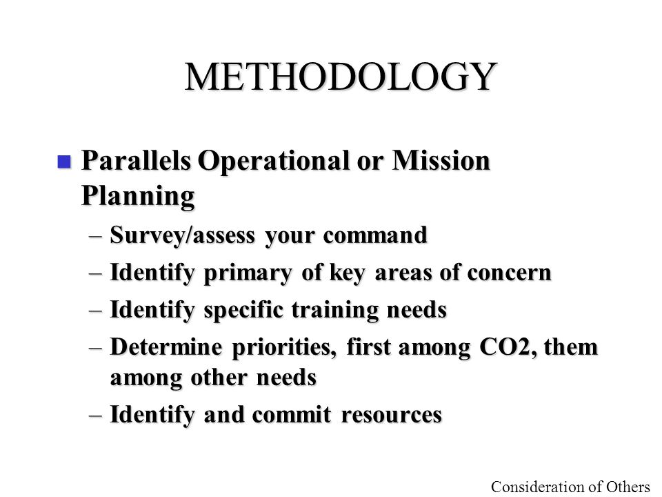 METHODOLOGY Parallels Operational or Mission Planning