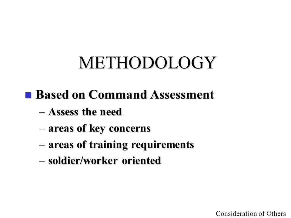 METHODOLOGY Based on Command Assessment Assess the need