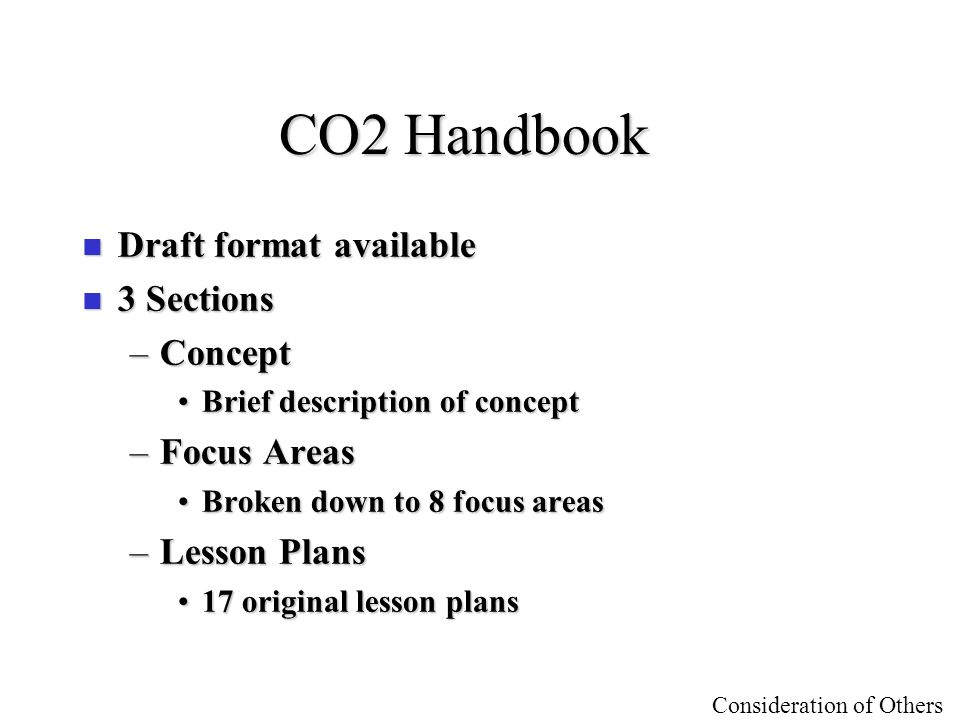 CO2 Handbook Draft format available 3 Sections Concept Focus Areas