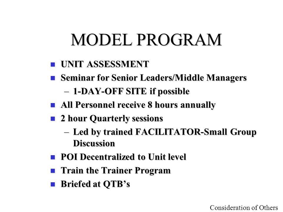 MODEL PROGRAM UNIT ASSESSMENT