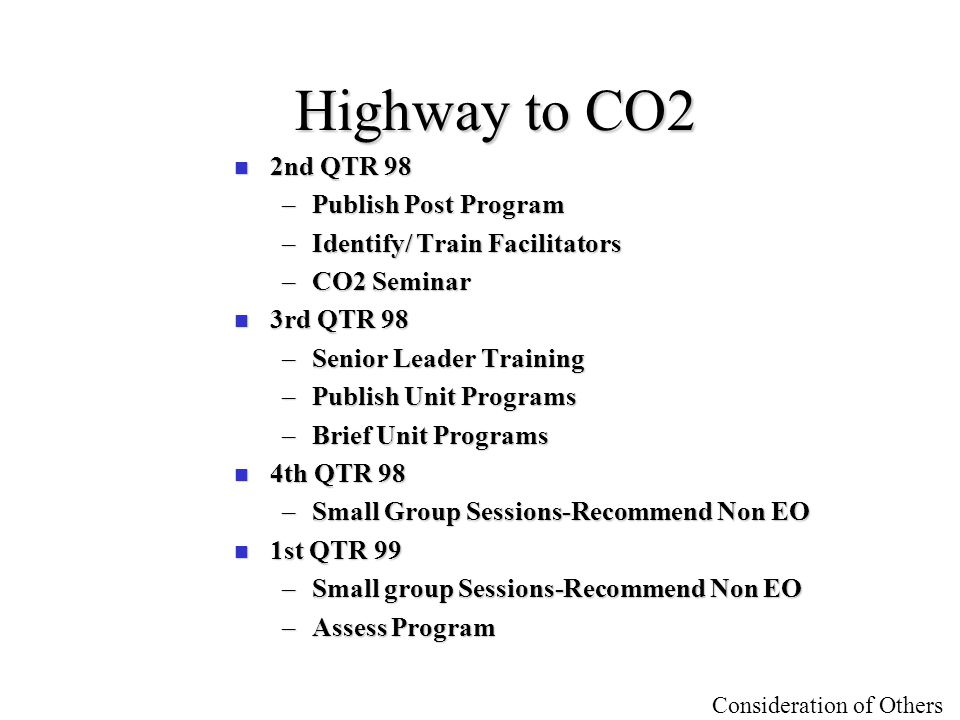 Highway to CO2 2nd QTR 98 Publish Post Program
