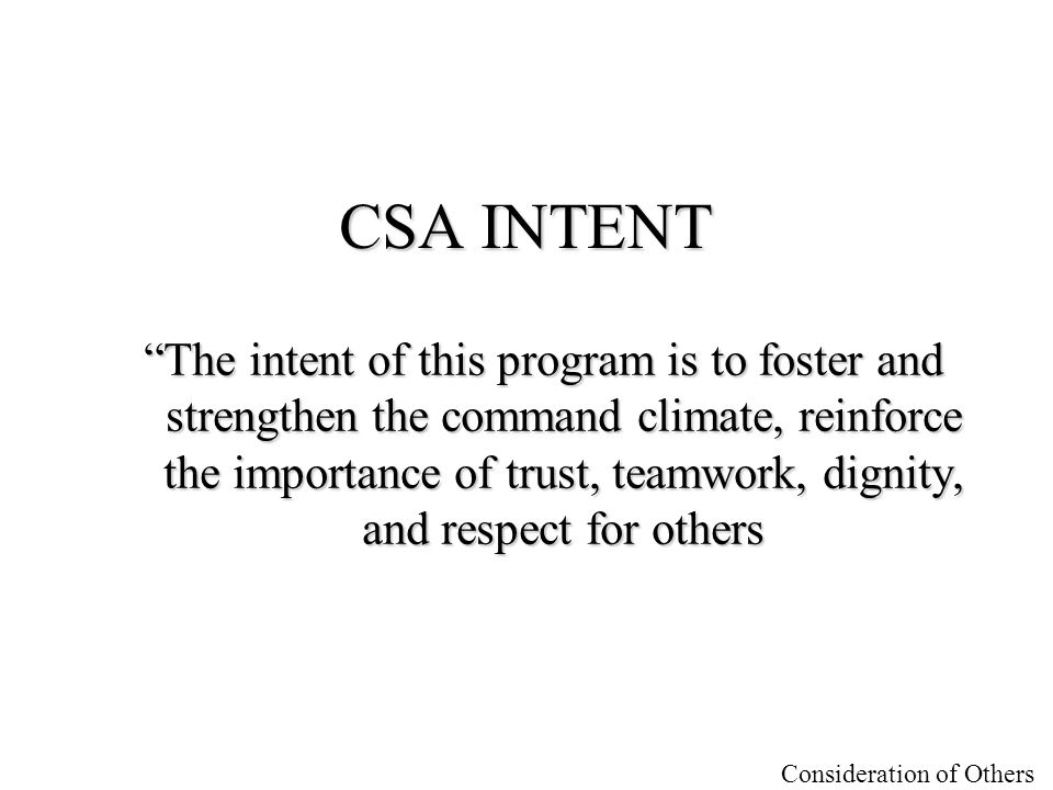 CSA INTENT
