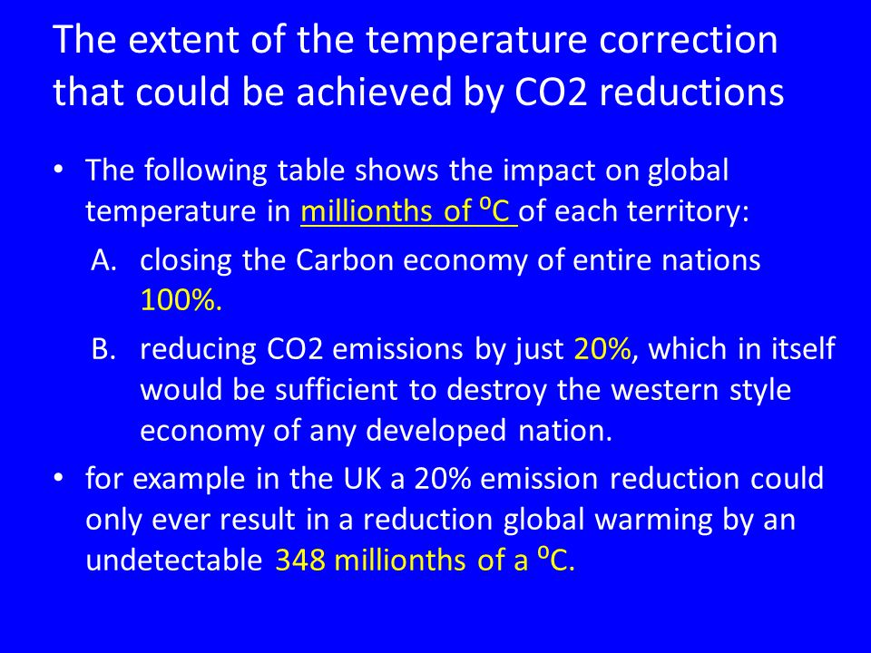 The extent of the temperature correction that could be achieved by CO2 reductions