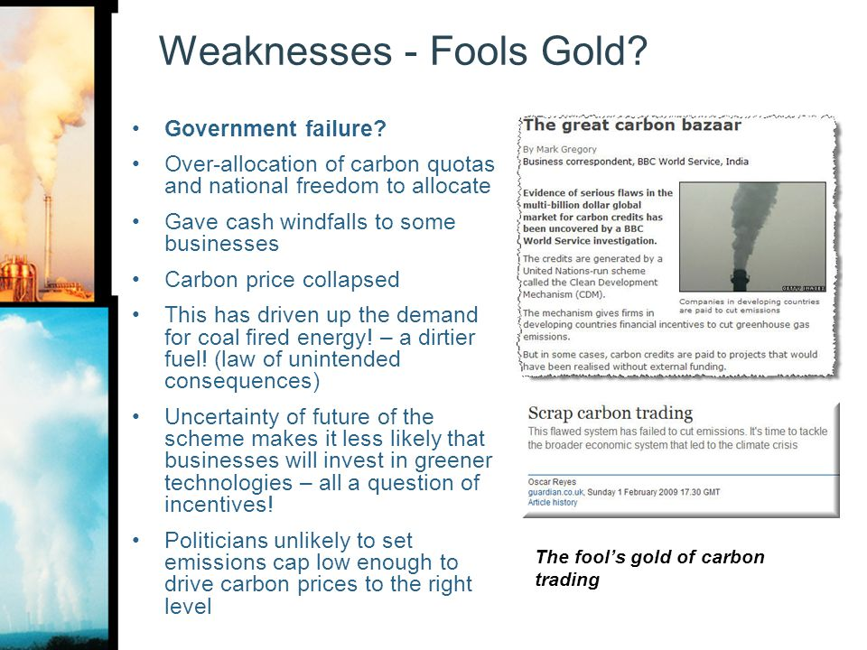 Weaknesses - Fools Gold