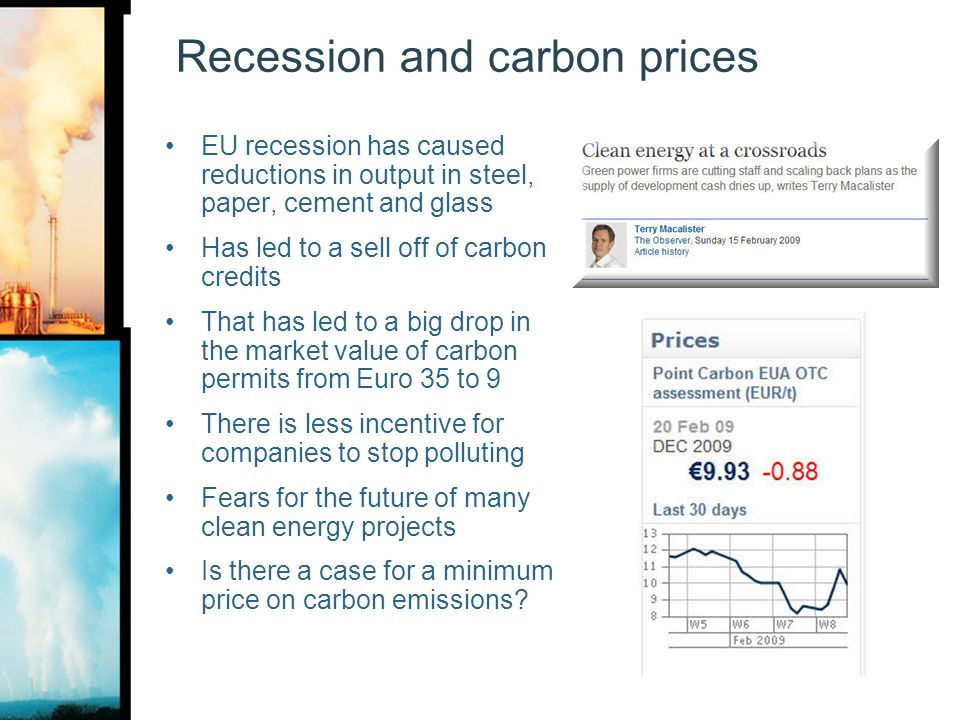 Recession and carbon prices