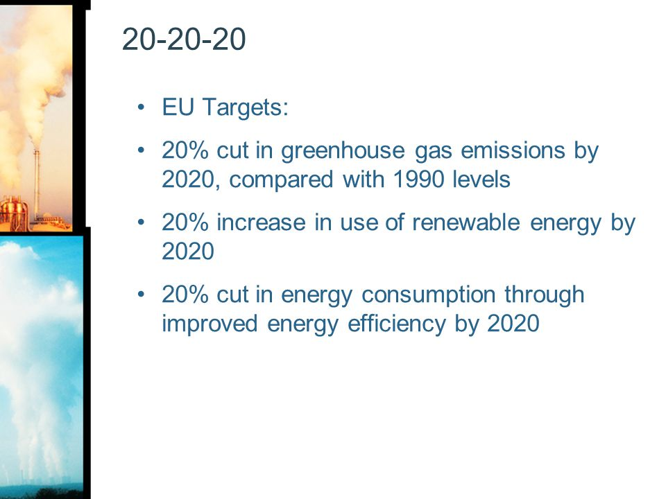 20-20-20 EU Targets: 20% cut in greenhouse gas emissions by 2020, compared with 1990 levels. 20% increase in use of renewable energy by 2020.