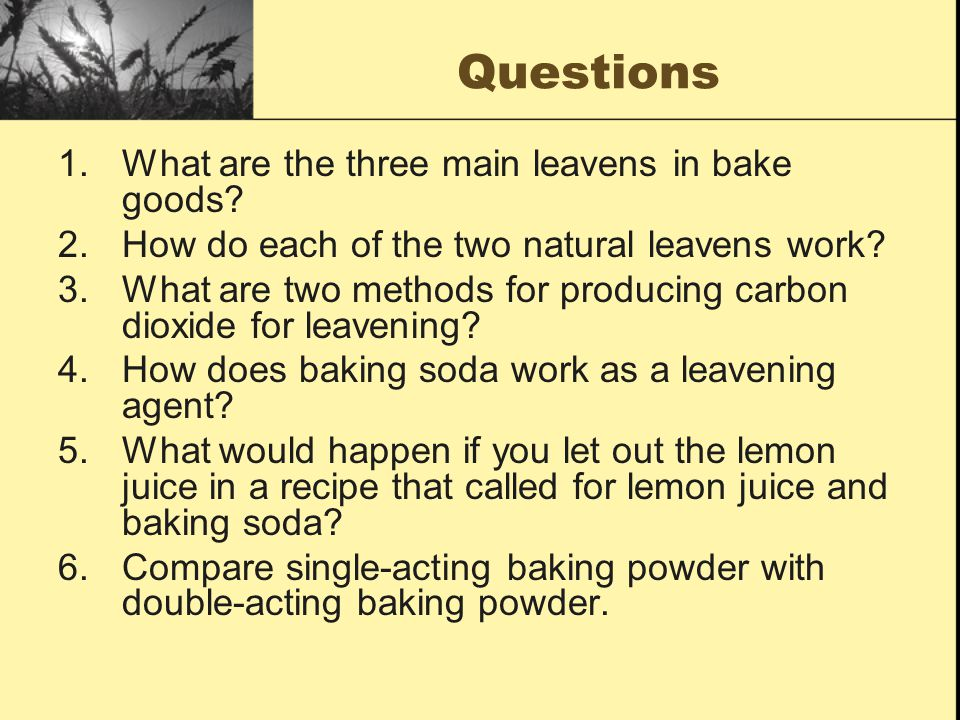 Questions What are the three main leavens in bake goods