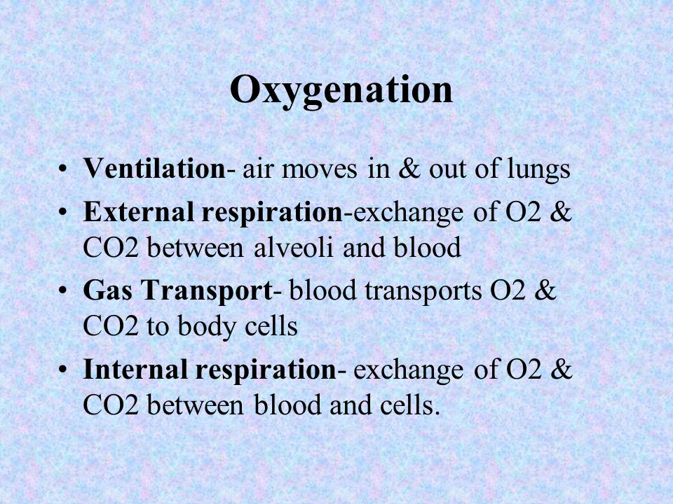 Oxygenation Ventilation- air moves in & out of lungs