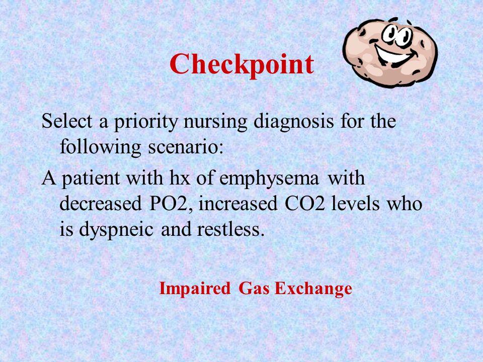 Checkpoint Select a priority nursing diagnosis for the following scenario: