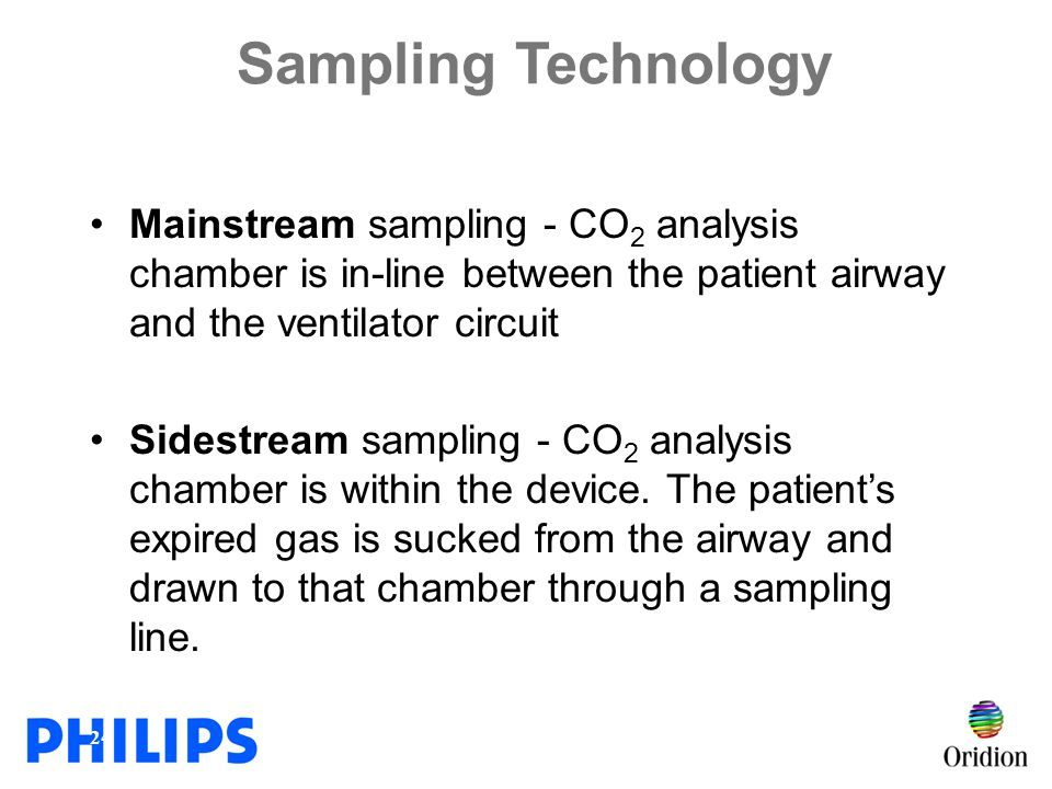 Sampling Technology Mainstream sampling - CO2 analysis chamber is in-line between the patient airway and the ventilator circuit.