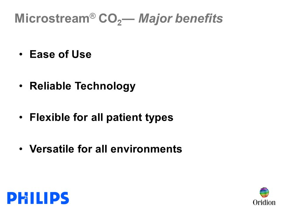 Microstream® CO2— Major benefits